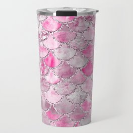 Trendy Colorful Pink Watercolor Glitter Mermaid Scales Travel Mug