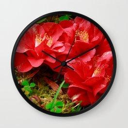 Fallen camellias Wall Clock