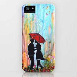 A Rainy Date romantic painting giftart iPhone Case