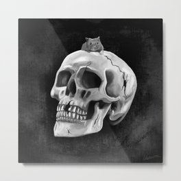 Cracked skull with mouse BW Metal Print