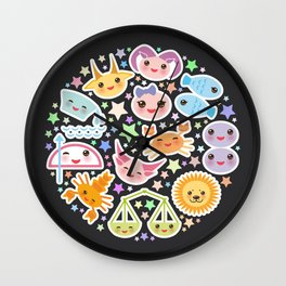 Funny Kawaii zodiac sign,  virgo, aries, gemini, cancer, aquarius, taurus, leo, libra sagittarius Wall Clock