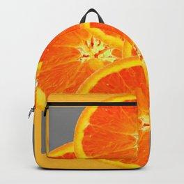 CONTEMPORARY SUCCULENT  ORANGE SLICES GREY ART Backpack