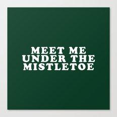 Christmas Mistletoe Kiss Dark Green Canvas Print