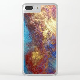 Red, Blue And Gold Modern Abstract Art Painting Clear iPhone Case