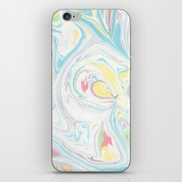 Modern abstract blue yellow white watercolor marble iPhone Skin
