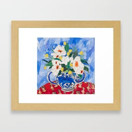 Queen of California - Giant Matilija Poppy Bouquet in Lion Vase on Blue Framed Art Print