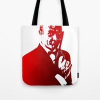 james bond Tote Bags featuring James Bond - Red or Dead by D77 The DigArtisT