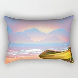 Cornwall beach vintage seaside poster Rectangular Pillow