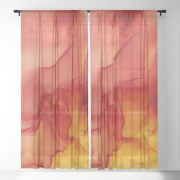 Red Sunset Abstract Ink Painting Red Orange Yellow Flame Sheer Curtain