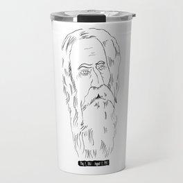 Rabindranath Tagore Charcoal Drawing Travel Mug