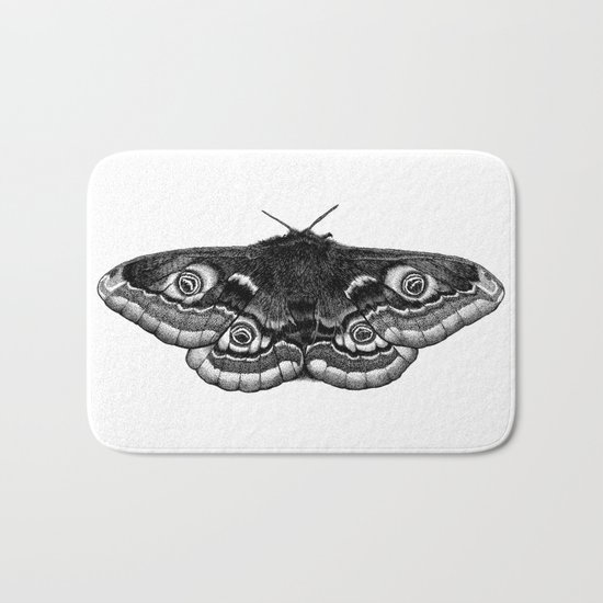 Moth Dotwork Drawing Bath Mat
