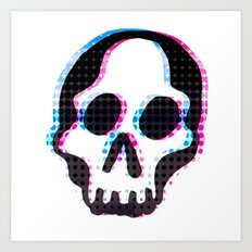 Glitch Skull Art Print