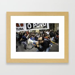 Protests in Coimbra Framed Art Print