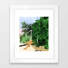 Hiding in Green #painting #illustration Framed Art Print