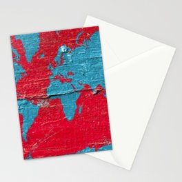 Blue and Red Milk Paint - Organic World Map Series Stationery Cards