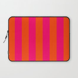 Bright Neon Pink and Orange Vertical Cabana Tent Stripes Laptop Sleeve