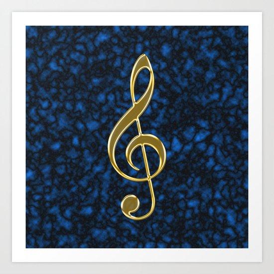 Golden treble clef Art Print