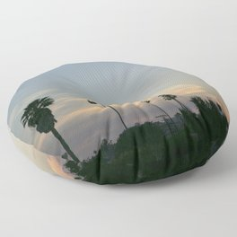 Venice Sunset (with Palm Trees) Floor Pillow