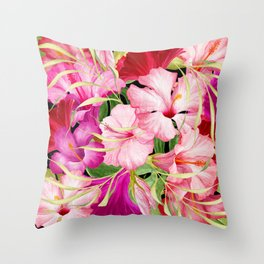 Tropical Power Flowers Throw Pillow