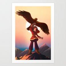 Mongolian Huntress with her Eagle Art Print