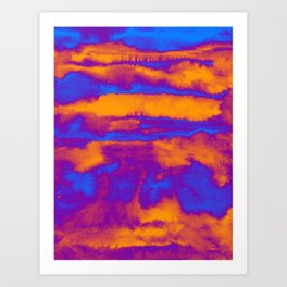 Abstract watercolor striped background in blue and orange colors Art Print