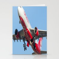 airplanes Stationery Cards featuring Air Berlin Airbus A330-223 Take-off Miami airplanes USA D-ALPJ by Yan David