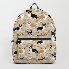 Corgi coffee welsh corgis dog breed pet lovers tan corgi crew Backpack