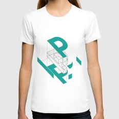 Exploded P SMALL Womens Fitted Tee White