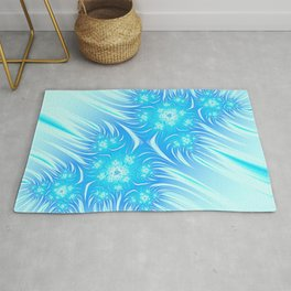 Abstract Christmas aqua blue white pattern. Frozen flowers Rug