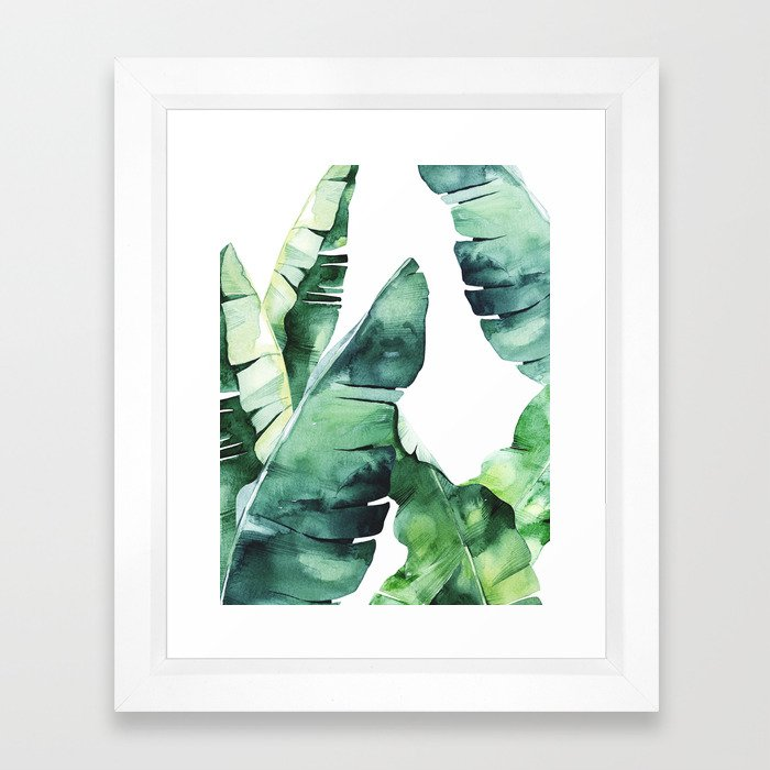 Tropical Banana Leaves Framed Art Print