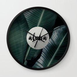 Aloha silver - banana leaf Wall Clock