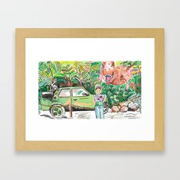 Dino Trouble Framed Art Print