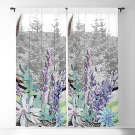 Floral Stag antlers b/w Blackout Curtain
