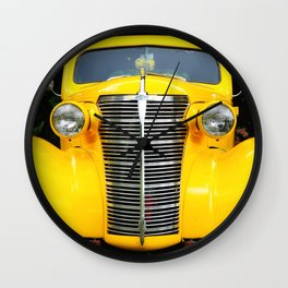 Yellow Chevy Wall Clock