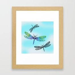 Dragonflies and Blue Skies Framed Art Print
