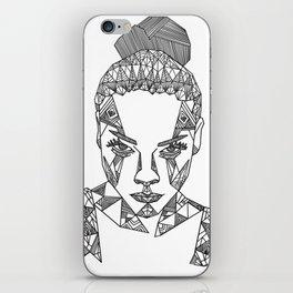 Geometric portrait iPhone Skin