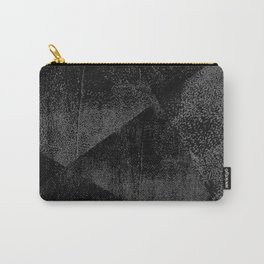 Black and Dark Gray Geometric Ink Texture Carry-All Pouch