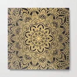 Multi Mandala - Gold on Black Marble Metal Print