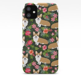Welsh Corgi hawaiian print pattern florals tropical summer dog breed pet portrait iPhone Case