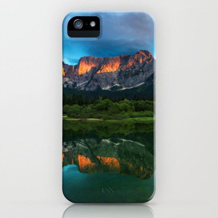 Burning sunset over the mountains at lake Fusine, Italy iPhone Case