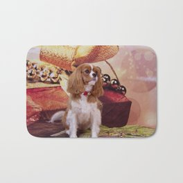 Ribbons, Bells And Cavalier King Charles Spaniel Bath Mat