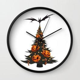 Halloween Christmas Tree - White Wall Clock