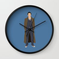 david tennant Wall Clocks featuring David Tennant as Dr Who by liamgrantfoto