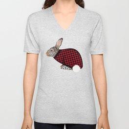 Rabbit Wintery Holiday Design Unisex V-Neck