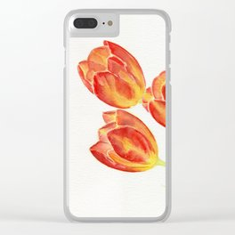 Tulips Watercolor Clear iPhone Case