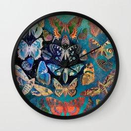 Distressed Butterflies & Moths Wall Clock
