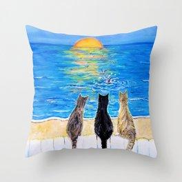Cat Beach Sunset 2 Throw Pillow