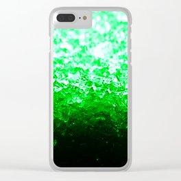 Emerald Green Ombre Crystals Clear iPhone Case
