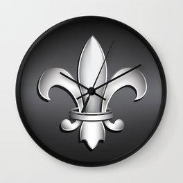 Fleur de Lis Heraldic Emblem Wall Clock