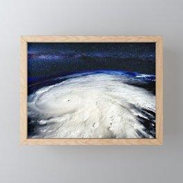 Satellite View of Hurricane and Milky Way Digital Photography by Jéanpaul Ferro Framed Mini Art Print